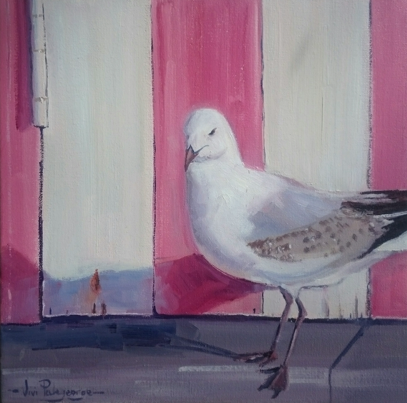 (CreativeWork) Pink bathing box bird series 3. by Vivi Palegeorge. oil-painting. Shop online at Bluethumb.