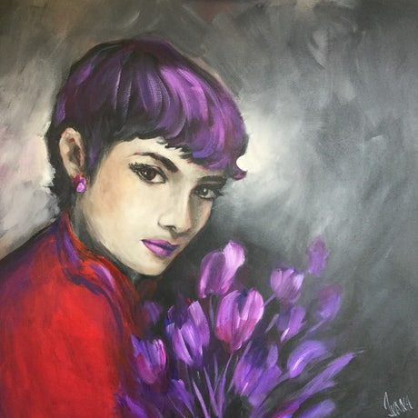 (CreativeWork) Audrey Hepburn my way by Ivana Pinaffo. Acrylic Paint. Shop online at Bluethumb.