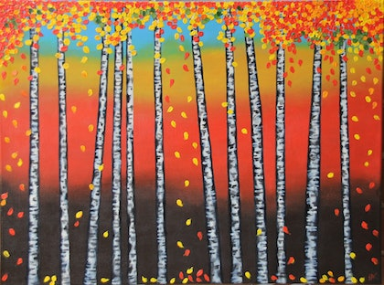 (CreativeWork) Birch Trees in Autumn by Shoma Anand. arcylic-painting. Shop online at Bluethumb.