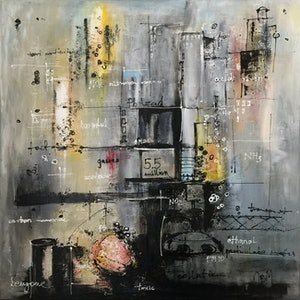 (CreativeWork) EMISSION CONTROL #1 by JOLANTA BIBIANNA MACIOLEK. arcylic-painting. Shop online at Bluethumb.