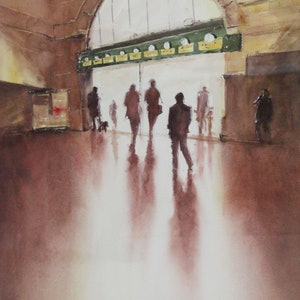 (CreativeWork) silhouettes at Flinders Street Station by Kanag Janakan. watercolour. Shop online at Bluethumb.