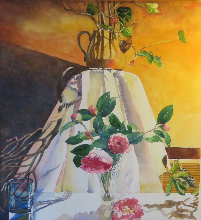 (CreativeWork) Dead Flower Society Still Life with Enamel Teapot by Kim McGee Apm. watercolour. Shop online at Bluethumb.
