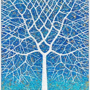 (CreativeWork) Deciduous Beach Tree by Night by Miranda Lloyd. mixed-media. Shop online at Bluethumb.