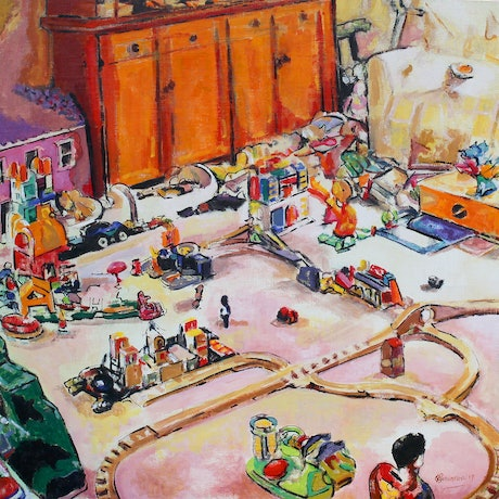 (CreativeWork) toyTown by Patrick Perlstone. Oil Paint. Shop online at Bluethumb.