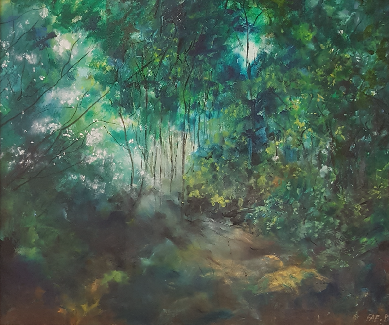 (CreativeWork) Where the Light Gets In by Fae Ballingall. oil-painting. Shop online at Bluethumb.
