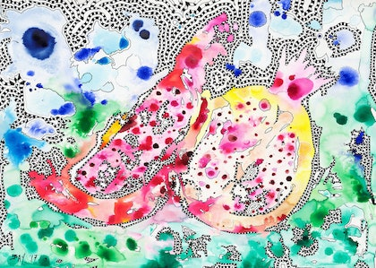 (CreativeWork) Pomegranate by Bay The Artist. arcylic-painting. Shop online at Bluethumb.