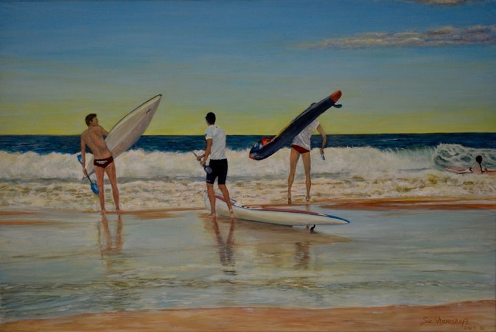 (CreativeWork) The  'Morning Rush'  Mooloolaba  beach,  sunshine coast , Queensland. by Sue Shakeshaft. arcylic-painting. Shop online at Bluethumb.