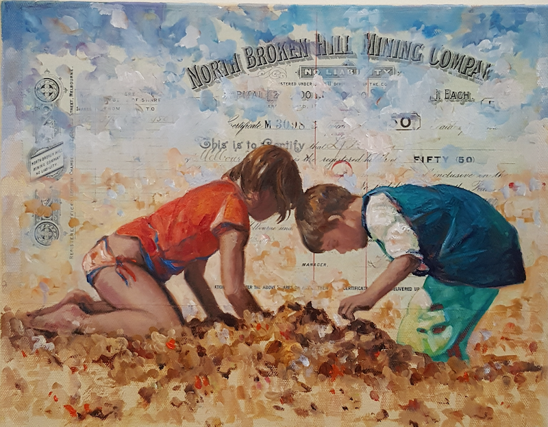 (CreativeWork) Mining for Gold by Sherry McCourt. mixed-media. Shop online at Bluethumb.