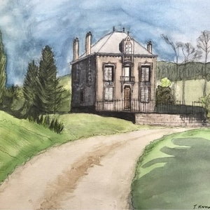 (CreativeWork) The Manse, Orquevaux by Tracey Knowland. watercolour. Shop online at Bluethumb.