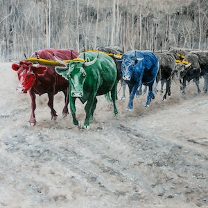(CreativeWork) RGB Bullock Train by Rodney Black. arcylic-painting. Shop online at Bluethumb.