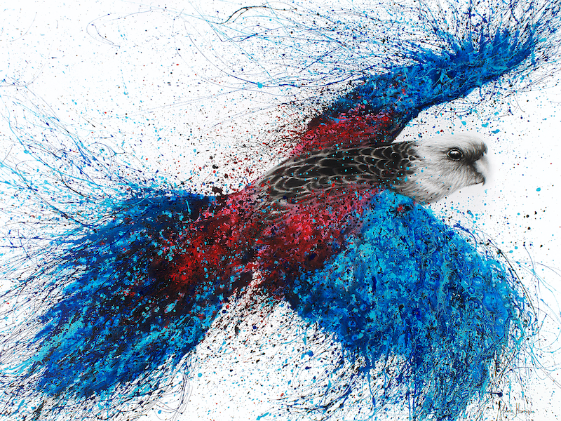 (CreativeWork) Crimson Resin Rosella by Ashvin Harrison. arcylic-painting. Shop online at Bluethumb.