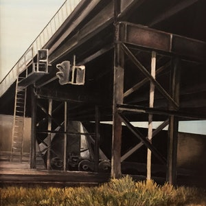 (CreativeWork) Throsby Bridge by Tim Nash. oil-painting. Shop online at Bluethumb.