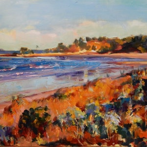 (CreativeWork) Fisherman's Beach, Emu Park by Elena Churilova. oil-painting. Shop online at Bluethumb.