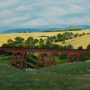 (CreativeWork) The Red Bridge by Doodie Herman. arcylic-painting. Shop online at Bluethumb.
