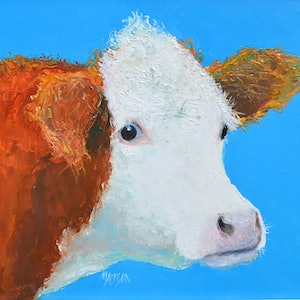 (CreativeWork) Hereford Cow - Abigail by Jan Matson. oil-painting. Shop online at Bluethumb.