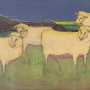 (CreativeWork) What Ewe Looking At by Karen Gingell. arcylic-painting. Shop online at Bluethumb.