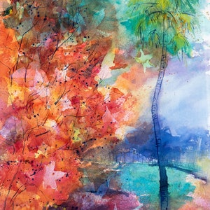 (CreativeWork) Sydney Autumn by Pamela Fairburn. watercolour. Shop online at Bluethumb.