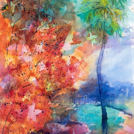 (CreativeWork) Sydney Autumn by Pamela Fairburn. Watercolour Paint. Shop online at Bluethumb.