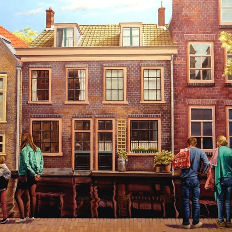 (CreativeWork) Little Street in Amsterdam by Stephen Kaldor. Oil Paint. Shop online at Bluethumb.