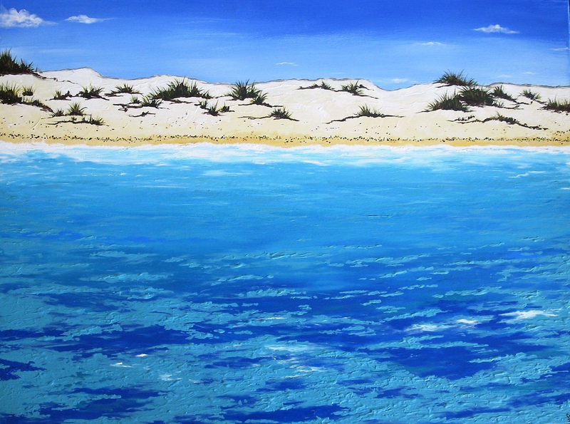 (CreativeWork) Turquoise Waters by Sally Ford. arcylic-painting. Shop online at Bluethumb.