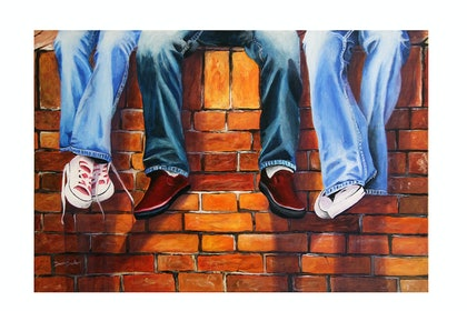 (CreativeWork) Denim & Shoes by Danny Bradley. arcylic-painting. Shop online at Bluethumb.
