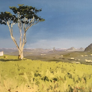 (CreativeWork) Hanging the wash at the Glasshouse Mountains by Meredith Howse. oil-painting. Shop online at Bluethumb.