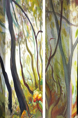 (CreativeWork) Toohey Forest With Prickly Pear by Laing Rahner. Acrylic. Shop online at Bluethumb.