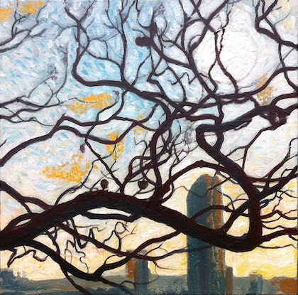 (CreativeWork) Jacaranda From the Point 1 by Laing Rahner. Acrylic. Shop online at Bluethumb.