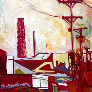 (CreativeWork) Urbex Skyline by Laing Rahner. acrylic-painting. Shop online at Bluethumb.