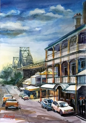 (CreativeWork) Story Bridge Hotel by Phuong Ly. Watercolour. Shop online at Bluethumb.