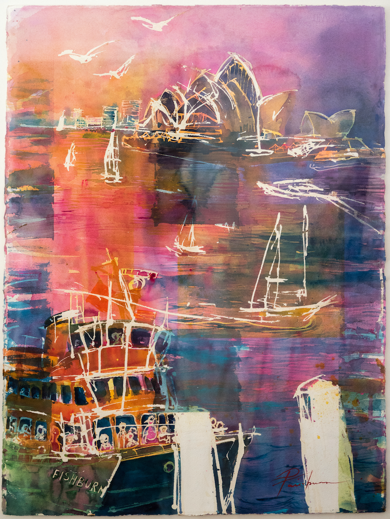 (CreativeWork) Sydney Harbour Boat Ballet by Pamela Fairburn. watercolour. Shop online at Bluethumb.