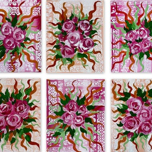 (CreativeWork) Cluster of Roses on  6 canvases   by Cathy Snow. arcylic-painting. Shop online at Bluethumb.