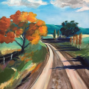 (CreativeWork) Road to Binda by John Klein. arcylic-painting. Shop online at Bluethumb.