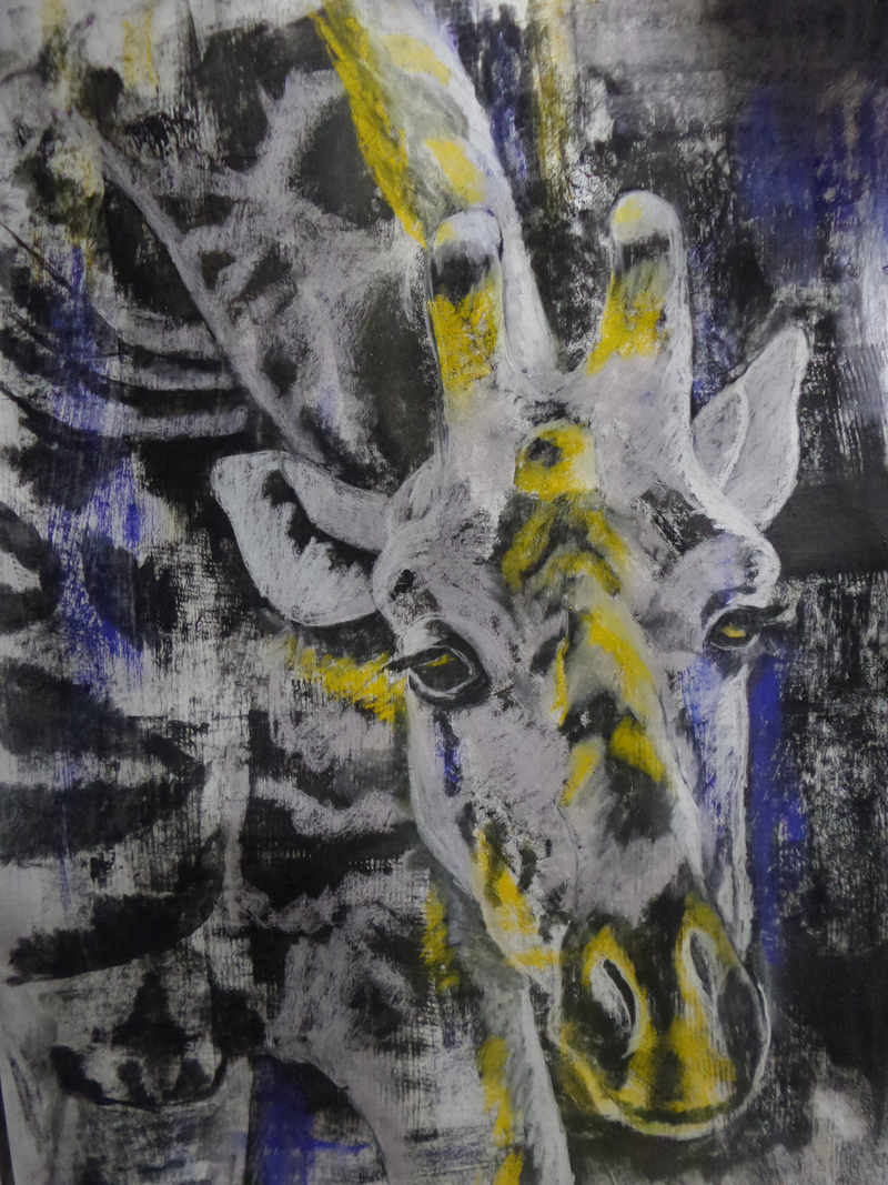 (CreativeWork) Giraffe Blue by Jo Dansie. mixed-media. Shop online at Bluethumb.