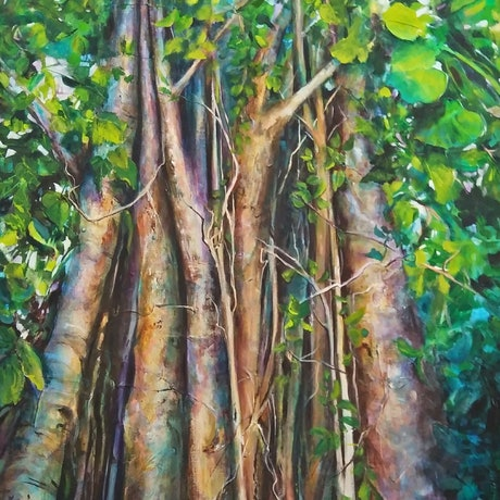 (CreativeWork) Entangled 2 by Cathy Gilday. Acrylic Paint. Shop online at Bluethumb.
