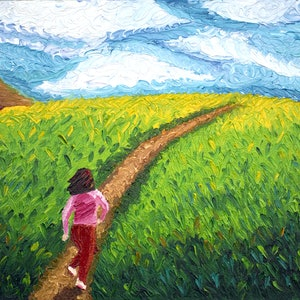 (CreativeWork) Girl runs in the meadow - landscape (framed) by Rujuta Chaudhari Atre. oil-painting. Shop online at Bluethumb.