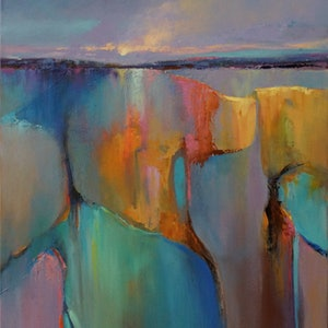 (CreativeWork) EVENING TIDE by Sandra Michele Knight. oil-painting. Shop online at Bluethumb.