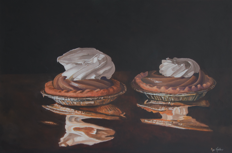 "(CreativeWork) ""Creme Caramel Tarts Resting on Gold Foil"" by Rob Kennedy. Oil Paint. Shop online at Bluethumb."