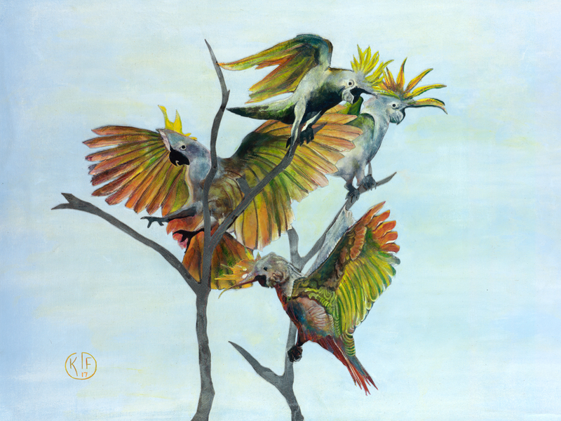 (CreativeWork) Birds of a Feather Stick Together by Katrina Goldsworthy. mixed-media. Shop online at Bluethumb.
