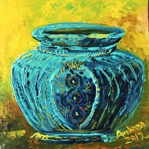 (CreativeWork) Pizzazz to the blue pot by Archana Sinh. arcylic-painting. Shop online at Bluethumb.