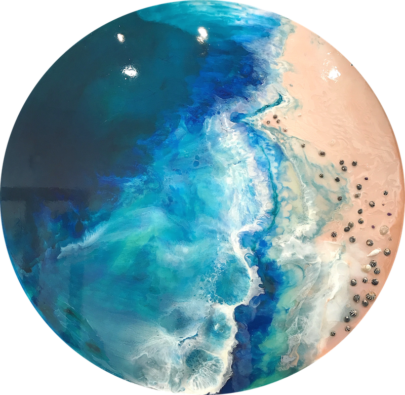 (CreativeWork) Azure Portholes-Laguna Beach | ANTUANELLE | Original Ocean Seascape | Commission 120cm by MARIE ANTUANELLE. resin. Shop online at Bluethumb.