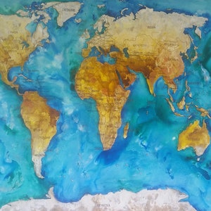 (CreativeWork) World Map by Kim Neil. mixed-media. Shop online at Bluethumb.