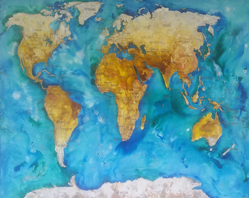 World map by kim neil paintings for sale bluethumb online art creativework world map by kim neil mixed media shop online at gumiabroncs Images