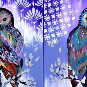 (CreativeWork) Owls ( both canvases included) by Cathy Jacobs. arcylic-painting. Shop online at Bluethumb.