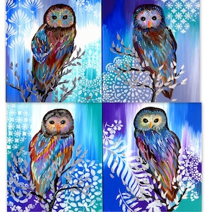 (CreativeWork) Owl Family ( 4 canvases included) by Cathy Jacobs. arcylic-painting. Shop online at Bluethumb.