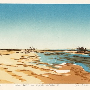 (CreativeWork) Low tide in creek mouth#1 Ed. 1 of 5 by Tina Moore. print. Shop online at Bluethumb.
