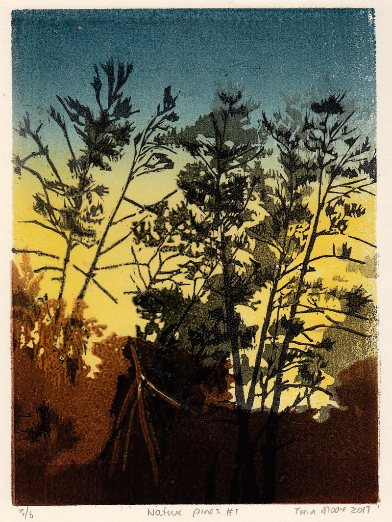 (CreativeWork) Native Pines #1 Ed. 1 of 6 by Tina Moore. #<Filter:0x00007fe36037c210>. Shop online at Bluethumb.