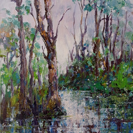 (CreativeWork) River Bend by Helen Miles. Acrylic Paint. Shop online at Bluethumb.