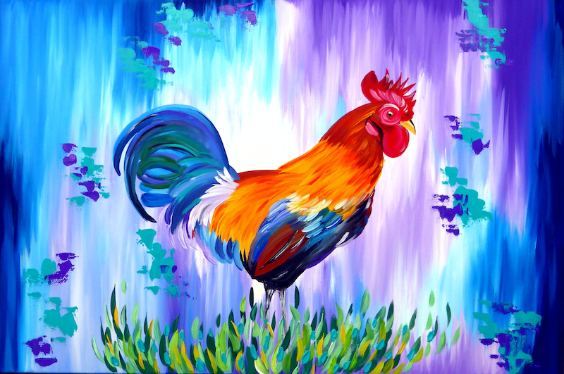 (CreativeWork) Rooster by Cathy Jacobs. arcylic-painting. Shop online at Bluethumb.