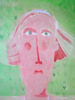 (CreativeWork) girl on green  by John Graham. Acrylic Paint. Shop online at Bluethumb.
